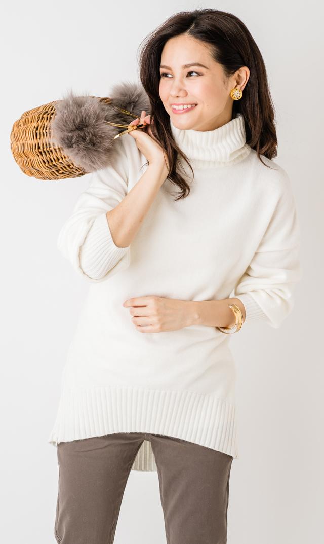 【ヴィリーナ(VIRINA)】アンナタートルネックナーシングニット(ホワイト)
