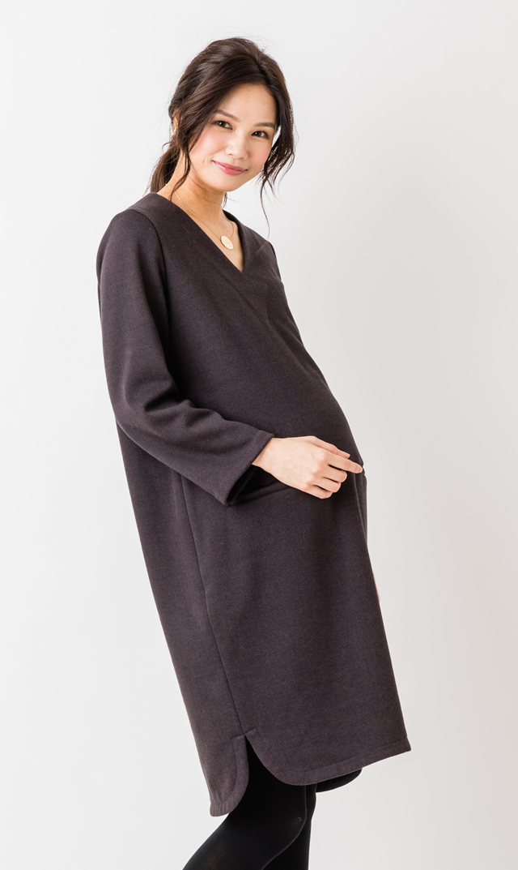 【ヴィリーナ(VIRINA)】ウォームイネスナーシングドレス(ブラウンヘリンボーン)