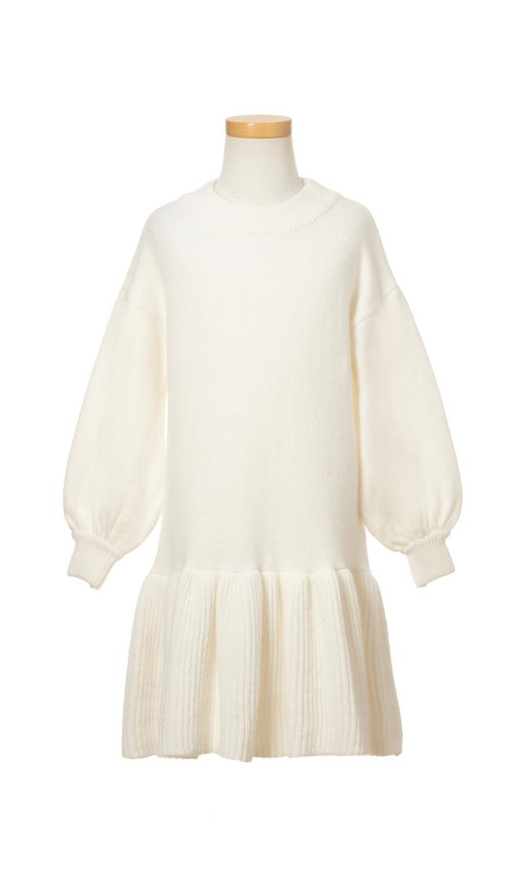 【ヴィリーナ(VIRINA)】アシュリーキッズニットドレス(ホワイト)/90-120cm