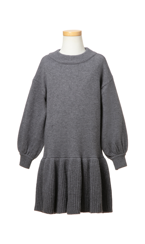 【ヴィリーナ(VIRINA)】アシュリーキッズニットドレス(グレー)/90-120cm