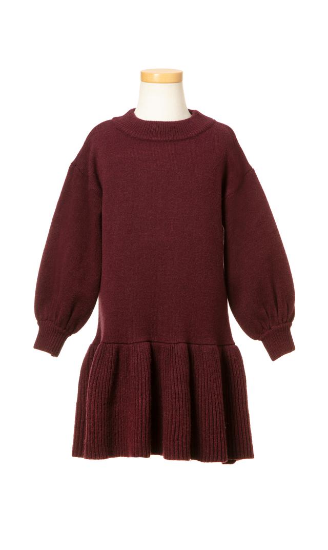 【ヴィリーナ(VIRINA)】アシュリーキッズニットドレス(ボルドー)/90-120cm