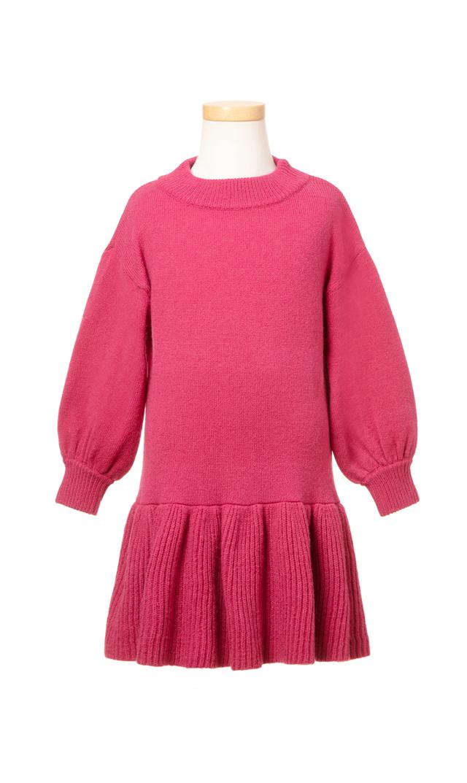 【ヴィリーナ(VIRINA)】アシュリーキッズニットドレス(ロータスピンク)/90-120cm