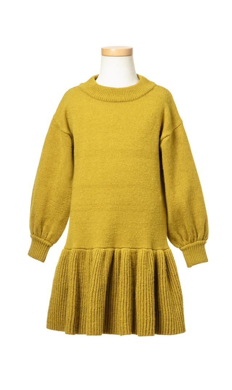 【ヴィリーナ(VIRINA)】アシュリーキッズニットドレス(ミモザ)/90-120cm