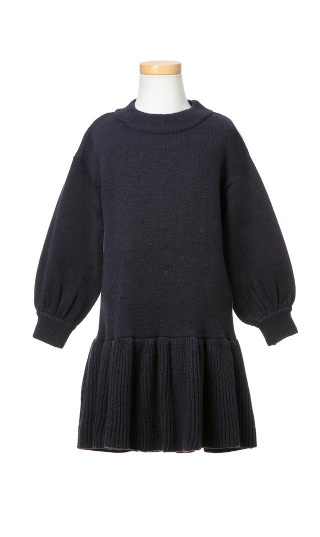 【ヴィリーナ(VIRINA)】アシュリーキッズニットドレス(ダークネイビー)/90-120cm
