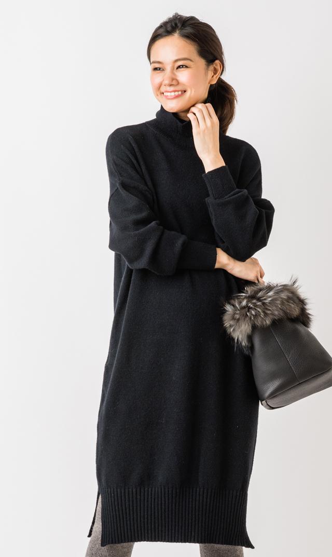 【ヴィリーナ(VIRINA)】ブレンダナーシングニットドレス(ブラック)