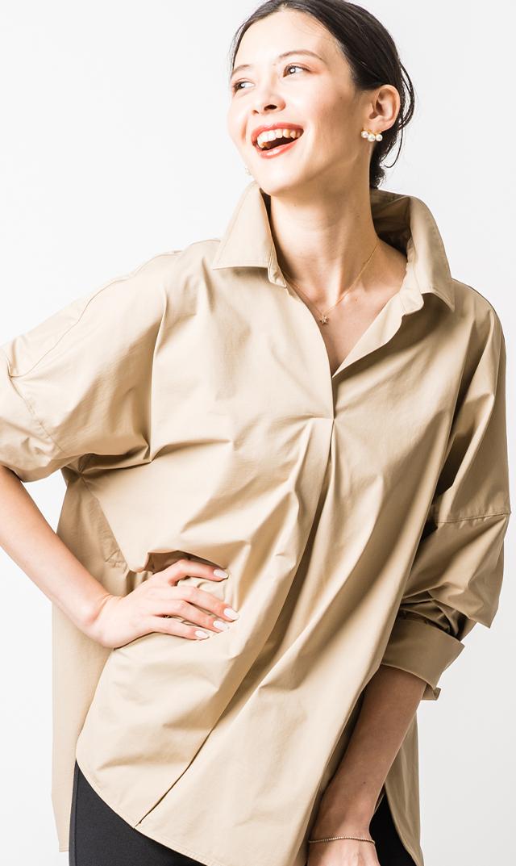 [マタニティ・授乳OK]【ヴィリーナ】ステラシャツ(ベージュ)