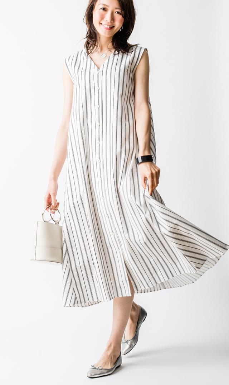 【ヴィリーナ(VIRINA)】ミシェルナーシング2wayドレス(ホワイトストライプ)