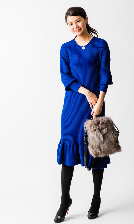 【ヴィリーナ(VIRINA)×友利新】セリーヌナーシングニットドレス(ブルー)