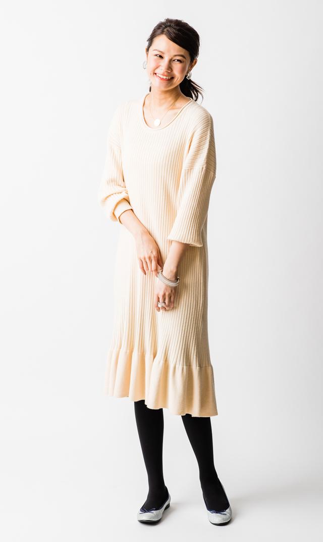 【ヴィリーナ(VIRINA)×友利新】セリーヌナーシングニットドレス(アイボリー)