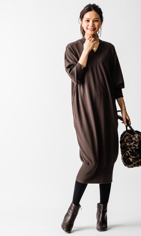 【ヴィリーナ(VIRINA)】キンバリーナーシングニットドレス(ココア)