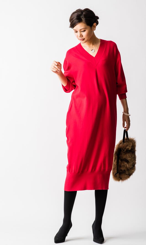 【ヴィリーナ(VIRINA)】キンバリーナーシングニットドレス(レッド)