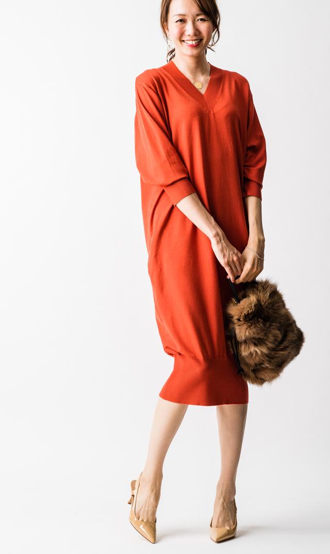 【ヴィリーナ(VIRINA)】キンバリーナーシングニットドレス(オレンジ)