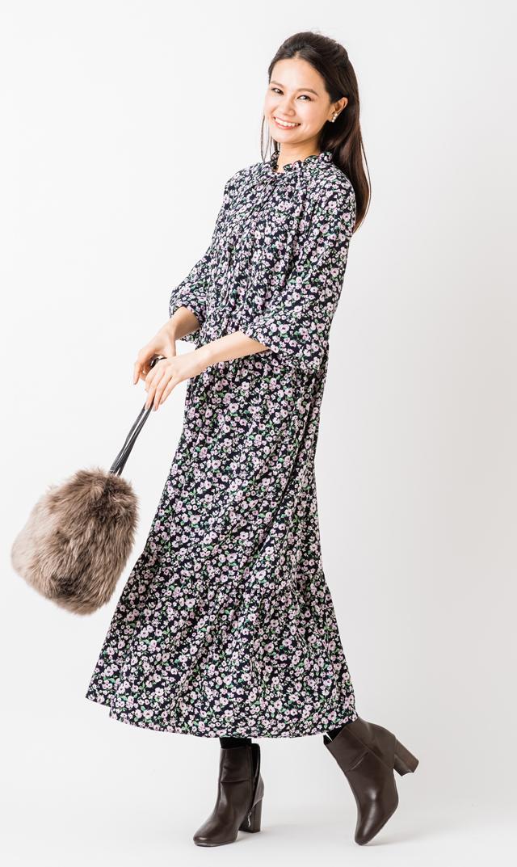 【ヴィリーナ(VIRINA)】ヴェロニカナーシングドレス(ネイビー×ピンク)