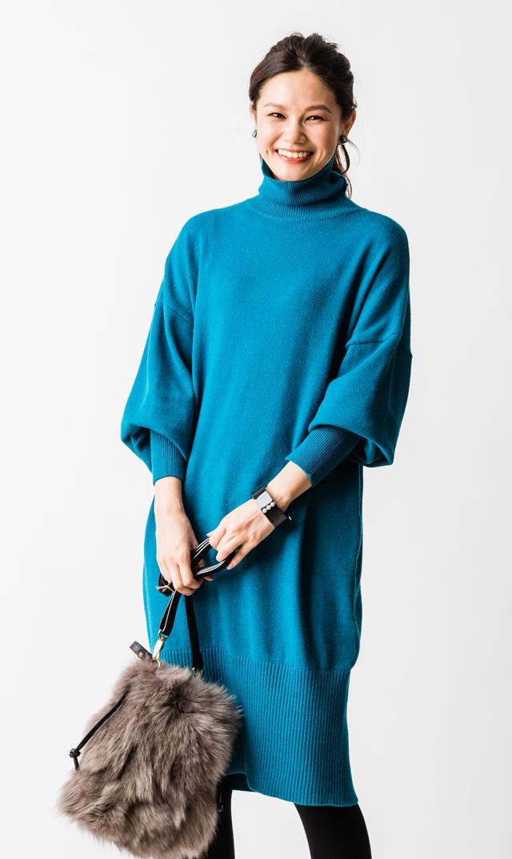 【ヴィリーナ】ミランダナーシングニットドレス(ブルー)