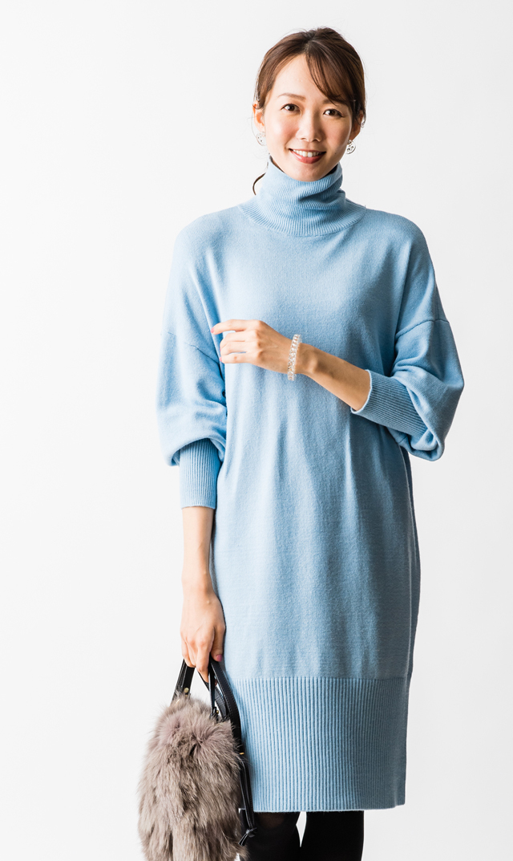【VIRINA(ヴィリーナ)】ミランダナーシングニットドレス(ライトブルー)