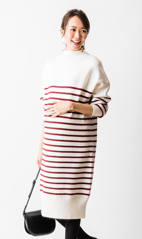 【ヴィリーナ】キキボーダーニットドレス(ホワイト×ボルドー)