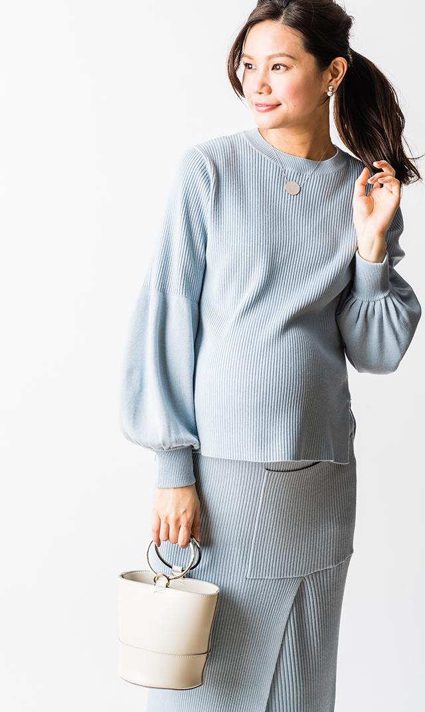【ヴィリーナ】グレースナーシングセットアップドレス(ブルー)