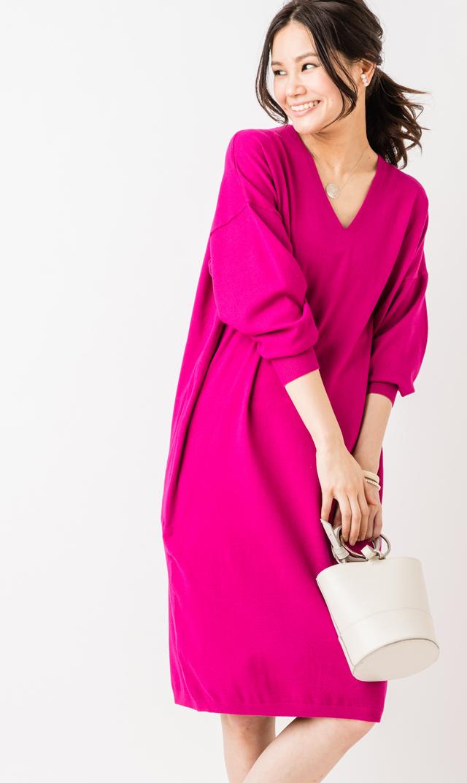 【ヴィリーナ(VIRINA)】レベッカナーシングニットドレス(ピンク)