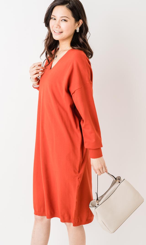 【ヴィリーナ(VIRINA)】レベッカナーシングニットドレス(オレンジ)