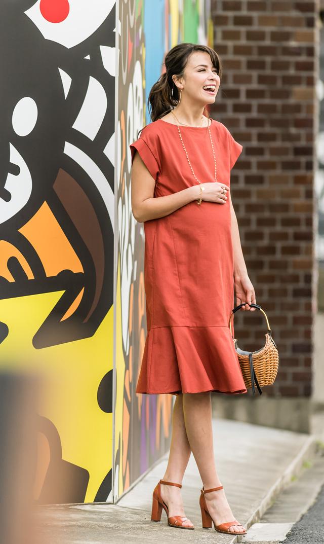 【ヴィリーナ(VIRINA)】キャリーナーシングドレス(オレンジ)