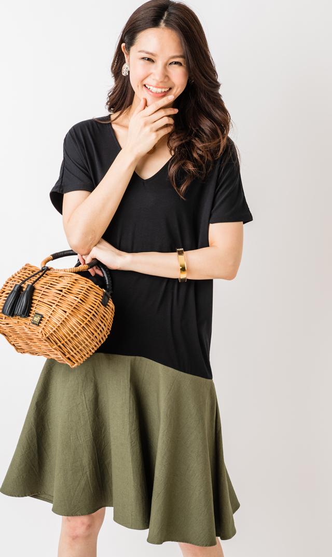 【ヴィリーナ(VIRINA)】シェリーナーシングドレス(ブラック×カーキ)