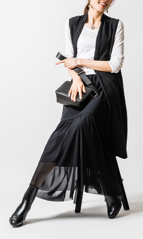【ヴィリーナ】アレッタチュールスカート(ブラック)