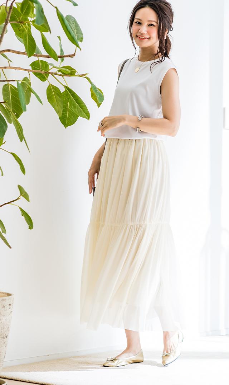 【ヴィリーナ】アレッタチュールスカート(ホワイト)