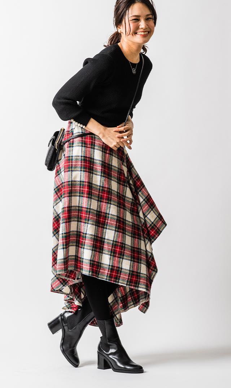 【ヴィリーナ】モニカアシンメトリースカート(ホワイト×レッドタータン)