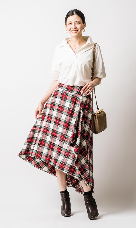 [マタニティ]【ヴィリーナ】モニカアシンメトリースカート(ホワイト×レッドタータン)