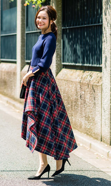 【ヴィリーナ】モニカアシンメトリースカート(ネイビー×レッドタータン)