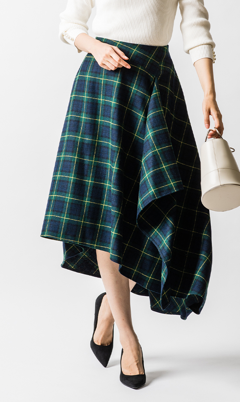 【ヴィリーナ】モニカアシンメトリースカート(ネイビー×グリーンタータン)