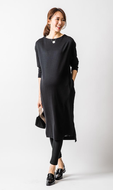 【ヴィリーナ】ジンジャーナーシングニットドレス(ブラック)