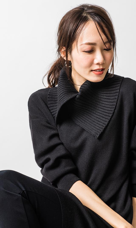 [HWキャンペーン対象]【ヴィリーナ】エレンナーシングニット(ブラック)