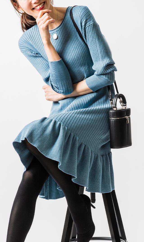 【ヴィリーナ×友利新】セリーヌナーシングドレス(ブルーミスト)