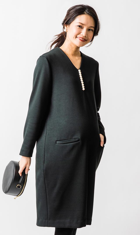 【ヴィリーナ】ウォーム・イネスパールナーシングドレス(ブラック)