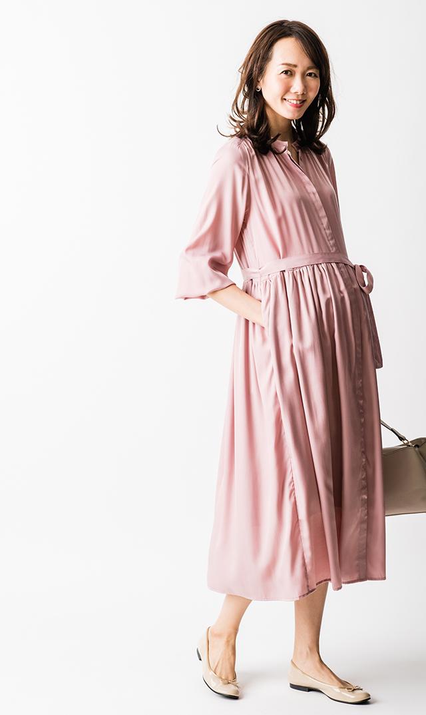 【ヴィリーナ】リラナーシングドレス/長袖(ローズ)