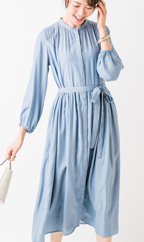 【ヴィリーナ】リラナーシングドレス/長袖(ブルー)