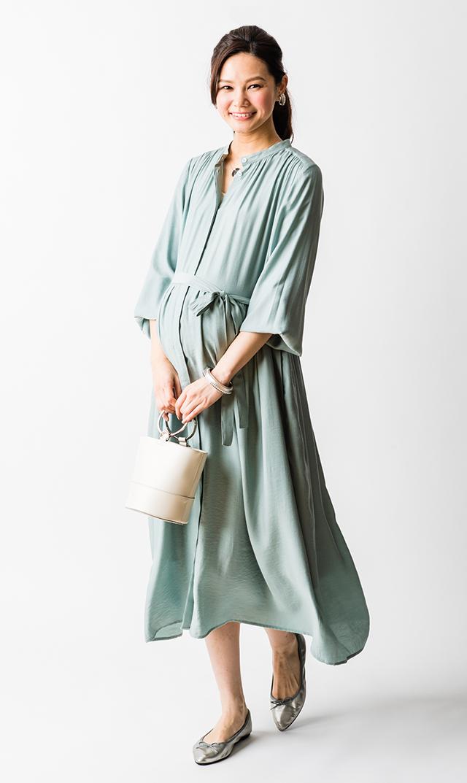 【ヴィリーナ】リラナーシングドレス/長袖(ミント)