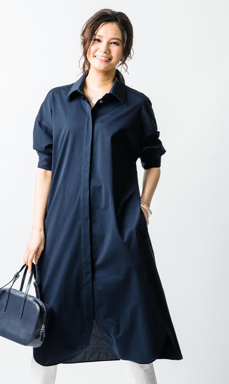 【ヴィリーナ】ロージーシャツドレス(ネイビー)