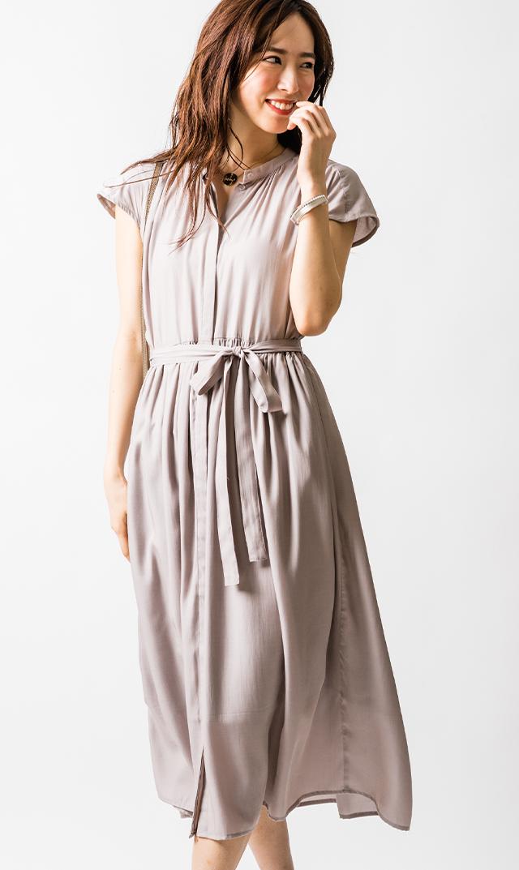 【ヴィリーナ】リラナーシングドレス(グレージュ)