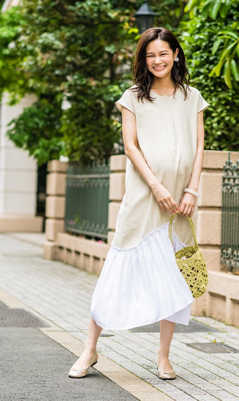 【ヴィリーナ】ニコナーシングドレス(ベージュ)
