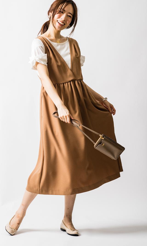 【ヴィリーナ】ココナーシングジャンパースカート(キャメル)