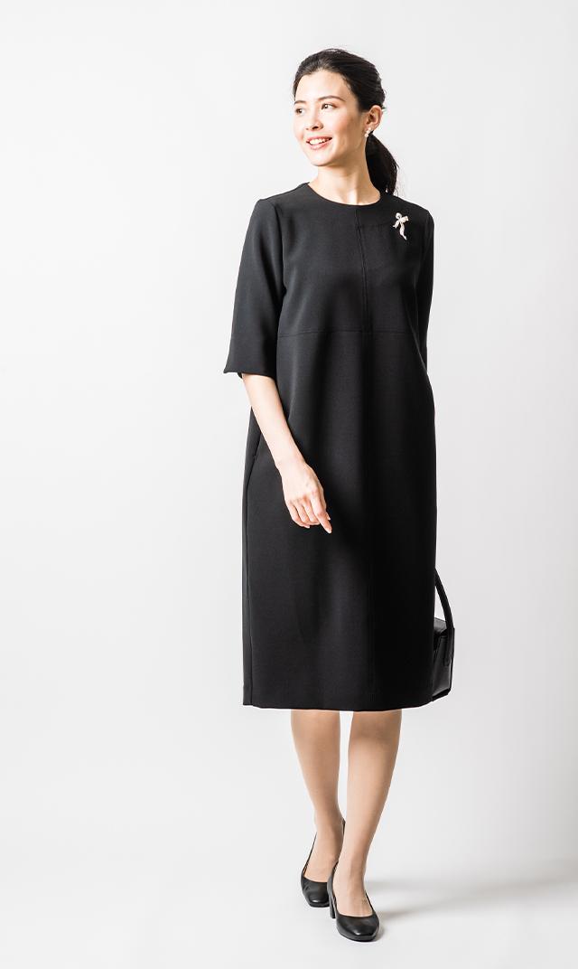 【ヴィリーナ】冠婚葬祭対応/コクーンワンピース(ブラック)