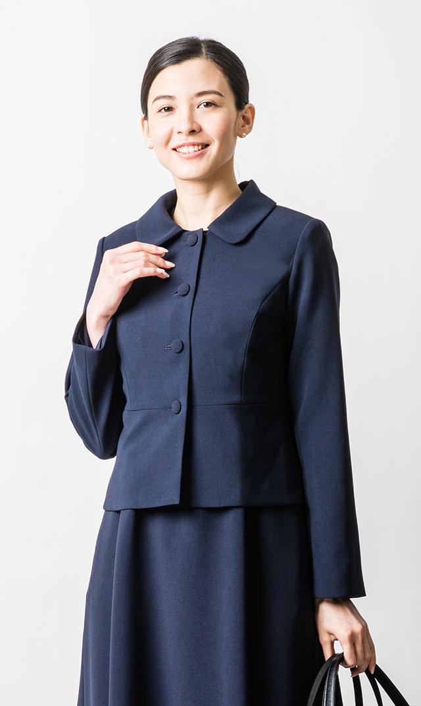 【ヴィリーナ】お受験スーツ/ラウンドカラージャケット(濃紺・日本製)