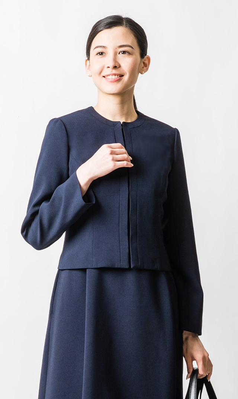 【ヴィリーナ】お受験スーツ/ノーカラージャケット(濃紺・日本製)