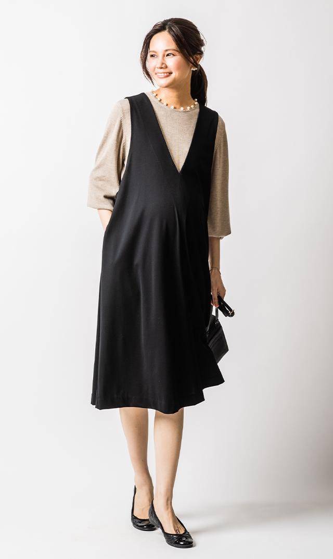 [マタニティ・授乳OK]【ヴィリーナ】エルマジャンパースカート(ブラック)