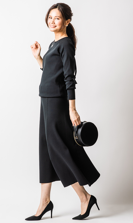 [レディース]【ヴィリーナ】ローラニットスカート(ブラック)