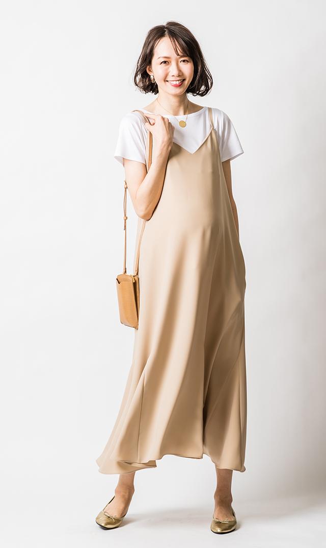 【ヴィリーナ】エスタナーシングドレス(シルクベージュ)