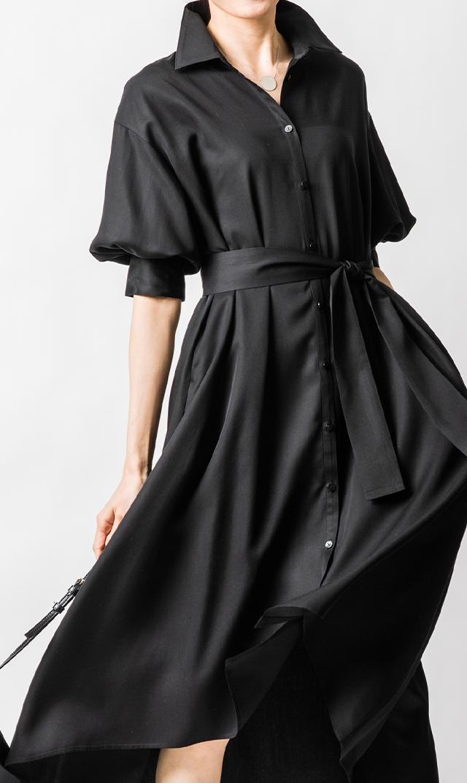 【ヴィリーナ】カトリーナシャツドレス(ピアノブラック)