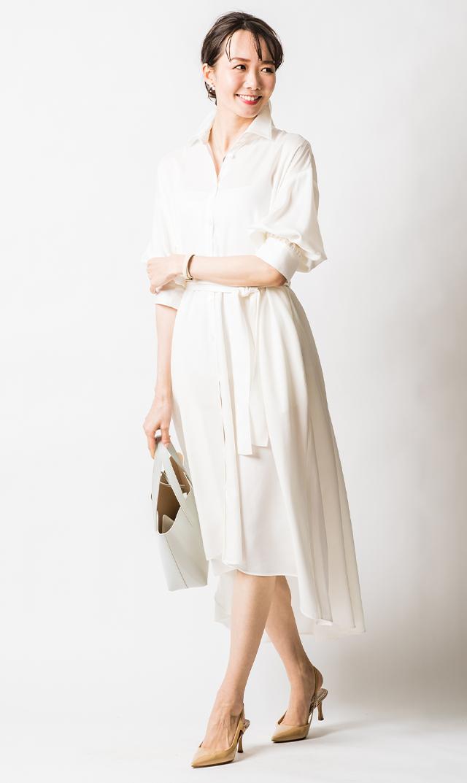 【ヴィリーナ】カトリーナシャツドレス(パールホワイト)